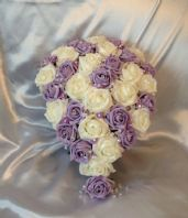 ARTIFICIAL WEDDING FLOWERS IVORY LILAC FOAM ROSE BRIDE CYSTAL TEARDROP BOUQUET